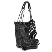 FGGS 2 Pcs/set Mode Schädel Frauen Handtasche Schulter Tasche Tote Geldbörse Leder Crossbody tasche Mit Silk Weibliche Schwarz Handtaschen