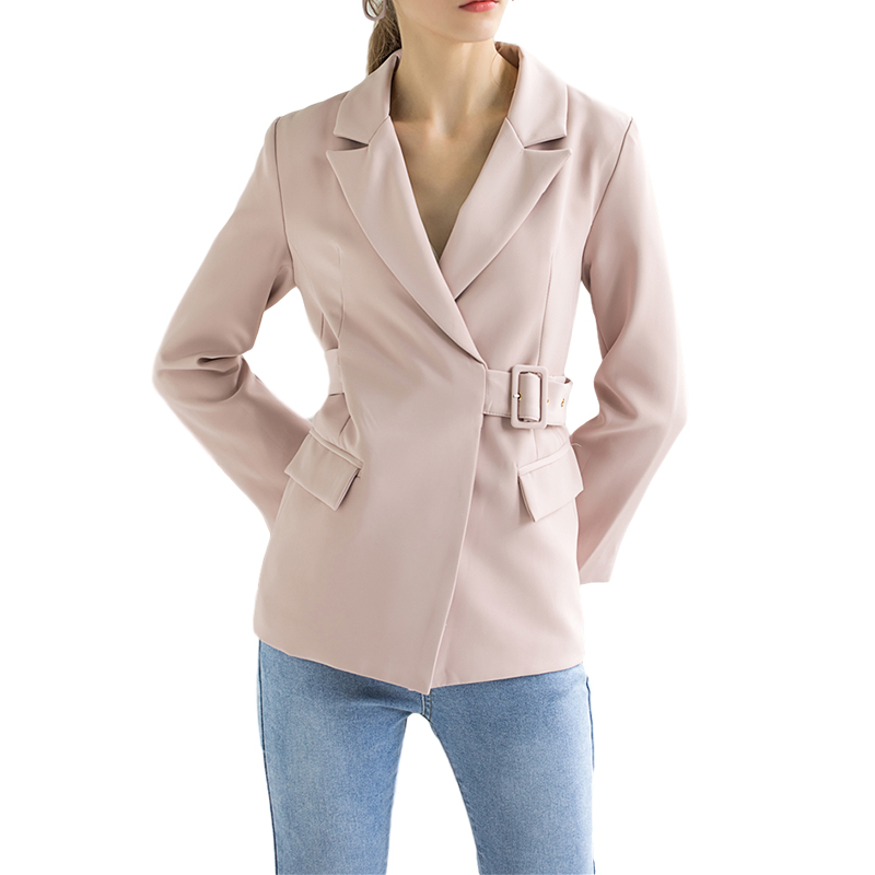 Solid Slim Long Sleeve Elegant Suit Coat Women Sashes Pink Blazer Jacket Work Office Ladies Korean Clothing 2020 Autumn New