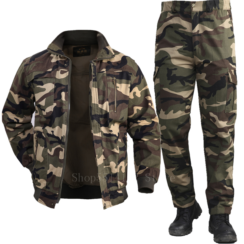 Men's Cotton Military Jacket Cargo Pants Set Man Tactical Camouflage Multicam Combat Uniform Bomber Soft Winter Outdoor Workwear