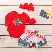 My First Christmas Girl Clothes Baby Set 3Pcs Pure Red Tops Bodysuit+Bow Skirt+Headband Outfits D35