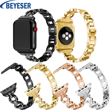 Wristband Strap Suitable for Apple Watch 38mm 42mm 40mm 44mm band for apple watch series 5 4 3 2 1 stainless steel bracelet band stainless steel strap for apple watch band rhinestone diamond band 38mm 42mm series 3 2 1 for apple watch 40mm 44mm series 4 5