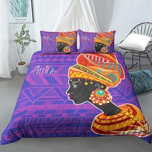 Africa Duvet Cover Set Retro Exotic Bedding Set Tribal Woman Quilt Cover Queen Purple Orange Bed