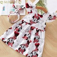 ガールドレス新しいベビードレスパターン印刷漫画ミニー誕生日チュチュドレス女性赤ちゃんの夏の服子供服