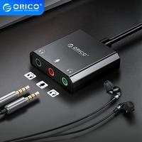ORICO-tarjeta de sonido externa USB a conector de 3,5mm, interfaz de Audio, micrófono, altavoces, auriculares de ordenador, tarjeta de sonido para PS4, PC y portátil