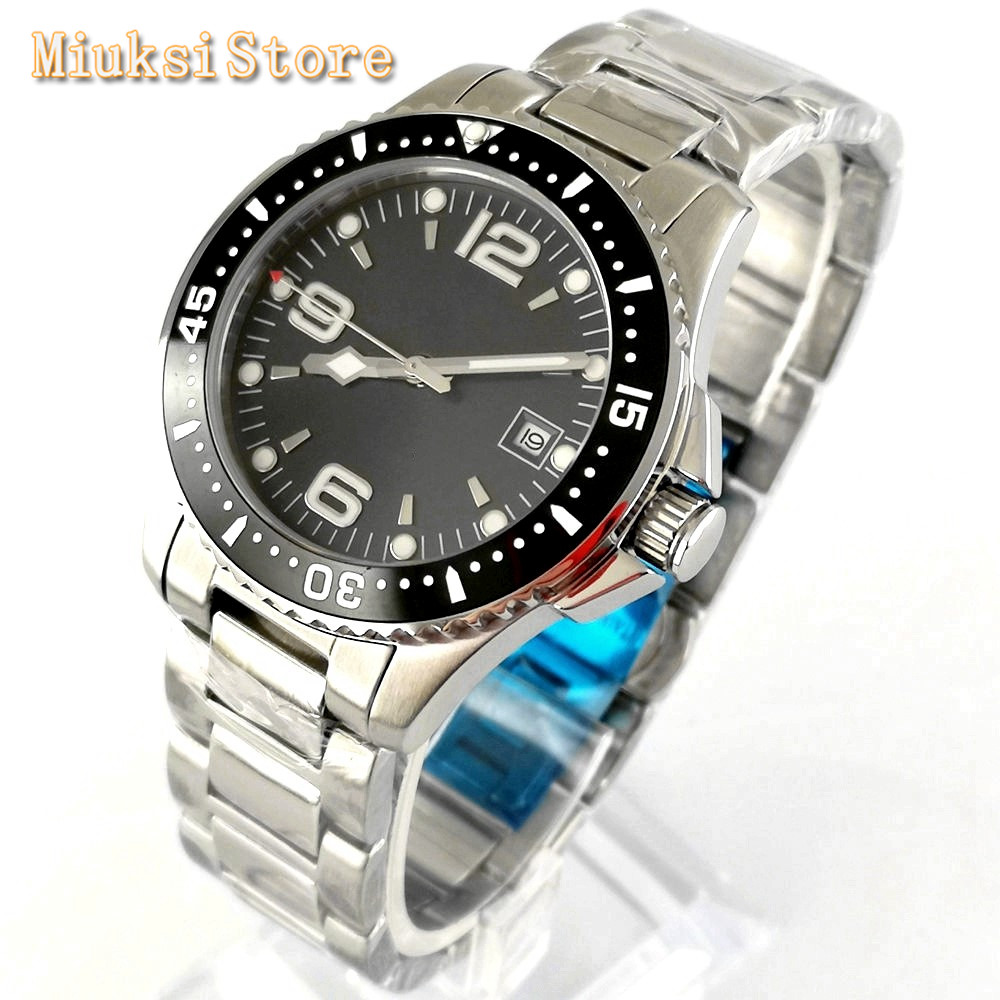 Bliger 40mm Mens Top Luxury Watches Sapphire Glass Black Dial Date Ceramic Bezel Luminous Mens Leisure Business Watch