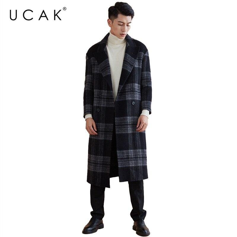 UCAK Brand Wool Coat 2019 New Arrival Winter Coat Men Fashion Long Jacket Men Thick Warm Coats Big Collar trench Overcoat U8003