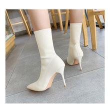 Женские вязаные ботинки носки на высоком каблуке