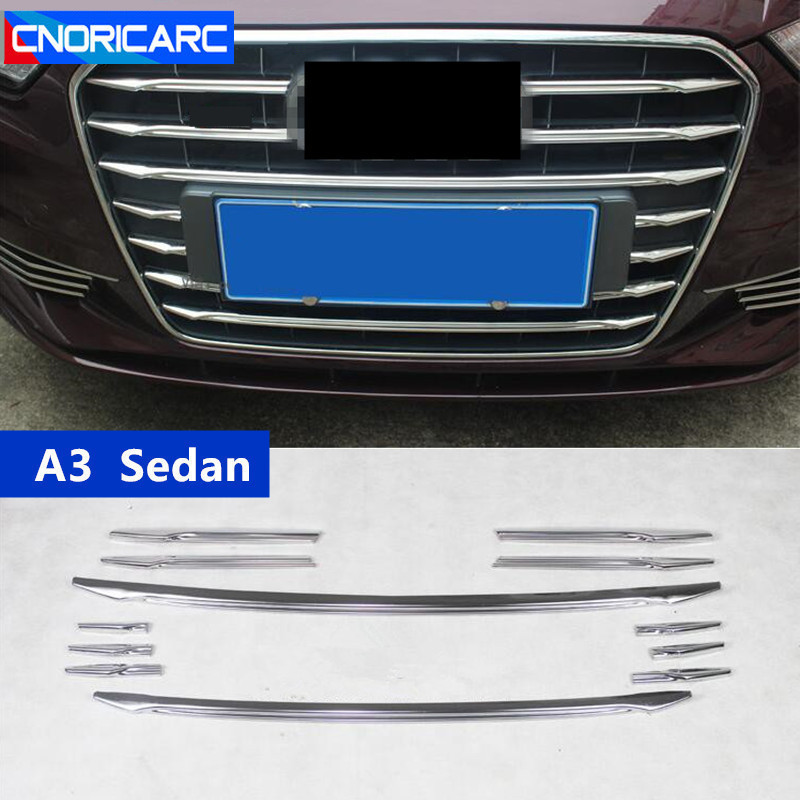 Stainless Front Mesh Hood Bumper Grill Strip 12Pcs For NEW Audi A3 V8 2013-2016