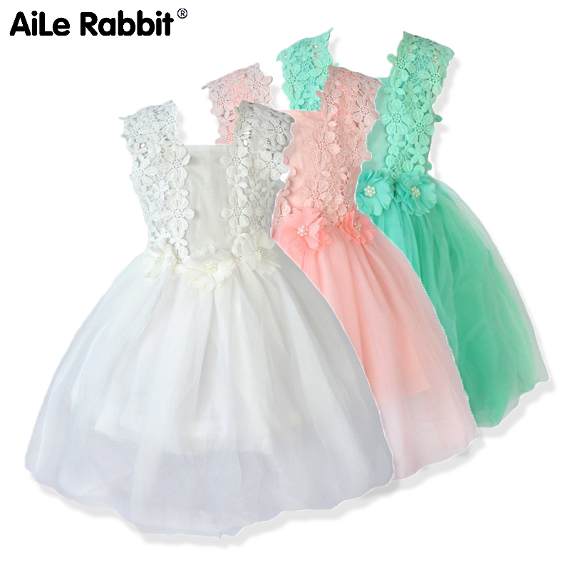 AiLe Rabbit Girls Lace Dresses Flower Gauze Princess Ponce Wedding Dress Party Dress Fashion Children's Clothing Apparel k1
