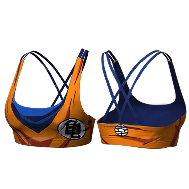Dragon Ball Z Goku Vegeta Quick Dry Padded Sports Bra Women Fitness Top Sport Brassiere Push Up Seamless Running Bra