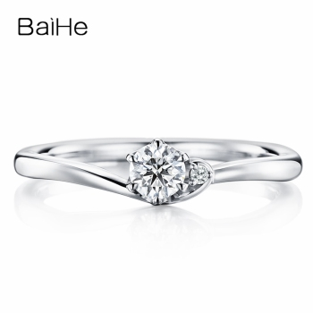 BAIHE Solid 10K White Gold(AU417) Certified 0.25ct Round Trendy 100% Moissanite Engagement Women Fine Jewelry elegant Gift Ring image
