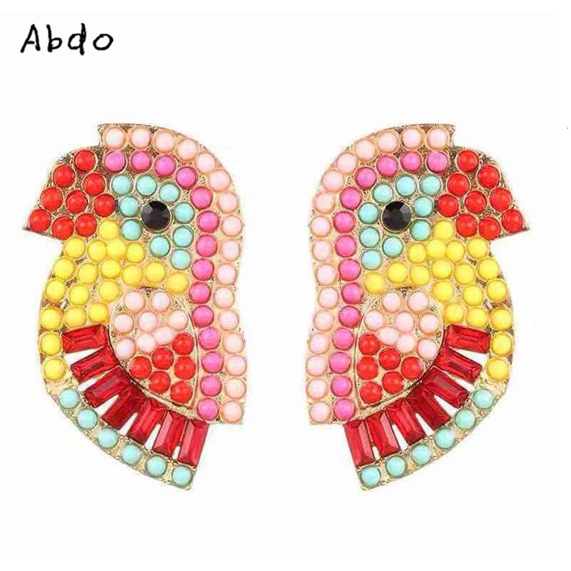 new Statement Crystal Parrot Earrings for Women Rainbow Color Rhinestone Bird Cute Animal Stud Female Jewelry Girl gift