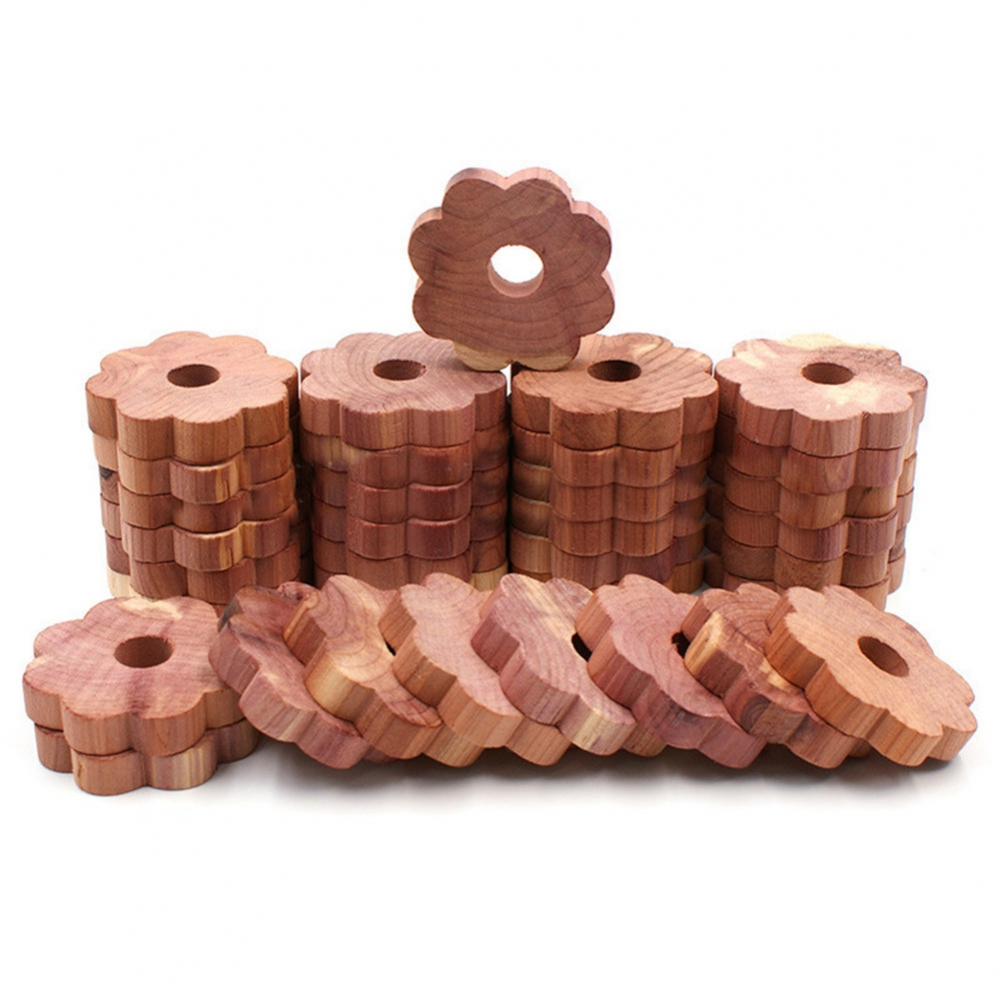 20 Pcs Cedar Wood Block Cedar Wood Ring Wood Round Piece Wardrobe Natural Pure Insect Repellent Camphor Moth Ball