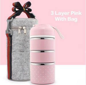 3 Layers 304 Stainless Steel Japanese Food Insulation Lunch Box Children Picnic Office Staff School Food Container Kitchen Table
