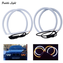 Car-styling 1 SET 4x131mmWhite Halo Cotton Light car smd LED Angel eyes for BMW E46 E36 E38 E39  non projector auto lighting free shipping 4x high power xenon white smd led light angel eyes projector halo rings marker kit for bmw e36 e38 e39 e46