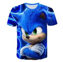 Милый 3D мультфильм 2020 футболка дети лето шорты версия с принтом Sonic Hedgehog футболка мальчики улица одежда подростки топы