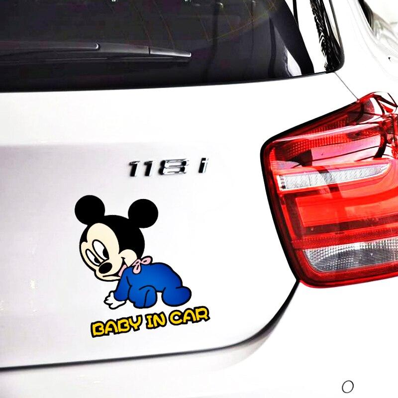 Мультфильм милый Микки и Минни Маус Мышь ребенок в автомобиле, Предупреждение автомобиля Стикеры виниловые наклейки в виде Фотообоев c переводными картинками для Audi A1 A3 A4 A5 A6 A7 Q3 Q5 Q7 RS3 RS5 - Название цвета: 02