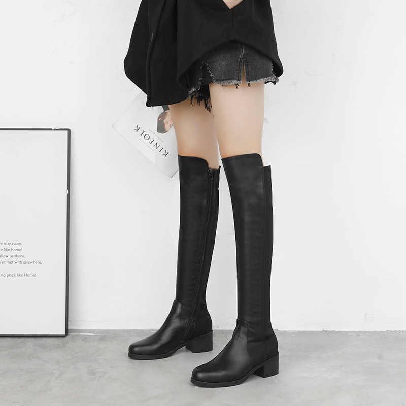 Frauen Stiefel Dünne Sexy Über-Die-Knie Stiefel Mode Wildleder und Leder Oberschenkel Hohe Stiefel Weibliche Winter Stiefel bota 2019