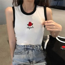 2019 Summer Fashion Women Vest O-Neck Rose Embroidered Tank Tops Sexy Slim Stretch Simple White Black