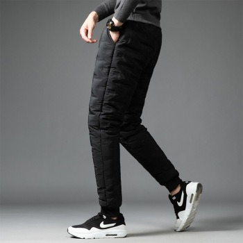 2020 Men's Winter Casual Lace-up Elastic Down Wadded Trousers Youth Wear Fashion Thin Foot Warm-Keeping Down Cotton Pants
