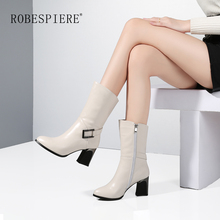цены ROBESPIERE 2019 New Pointed Toe Mid Calf Boots Women Fashion Buckle Square Heel Shoes Winter Warm plush Zipper Lady Boots B69