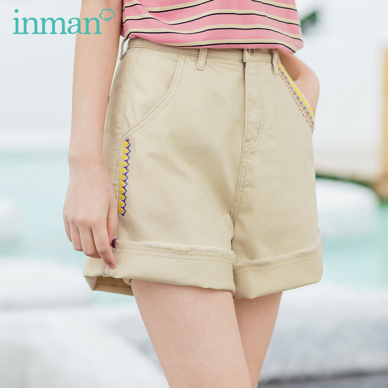 INMAN 2020 Summer New Arrival Cotton High Waist Contrast Color Embroidered Fashion Shorts