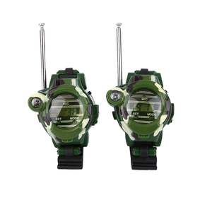 "1 Pair Portable 7 in 1 0.8"" Camouflage Military LCD-way Radio 50~150M Watches Walkie Talkie Lights Mic"