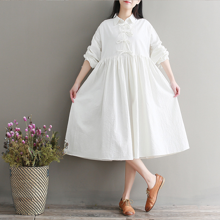 Japanese-style Small Fresh New Year New Style Cotton Linen Dress Women's Long-Sleeve Loose-Fit Mid-length Photo Shoot