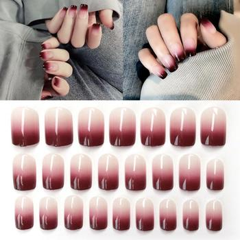 24Pcs/Box Gradient Burgundy Fake Nails Matte Acryl Nagel Tips Fashion Stiletto False Nails Pointed Sharp Artificial False Nails image