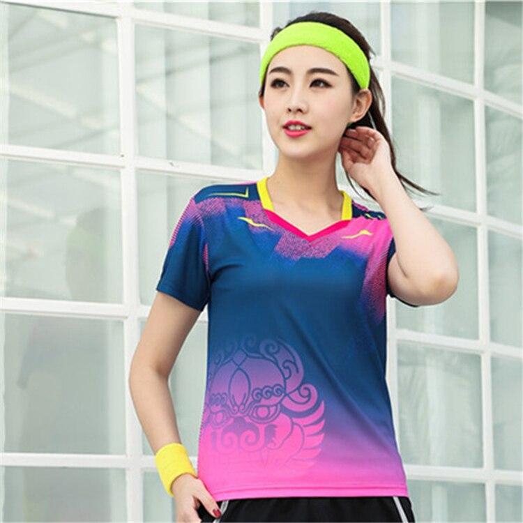 Быстросохнущая, впитывающая пот и дышащая рубашка для бадминтона, топ для соревнований, тренировочный костюм для бега, мужской и женский короткий рукав - Цвет: 1810Bfemale1
