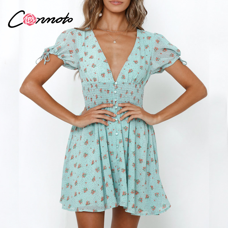 Conmoto Boho Floral Beach Summer 2020 Dress Women Sexy Short Green Floral Dresses Button Vintage Puff Plus Size Dress Vestidos