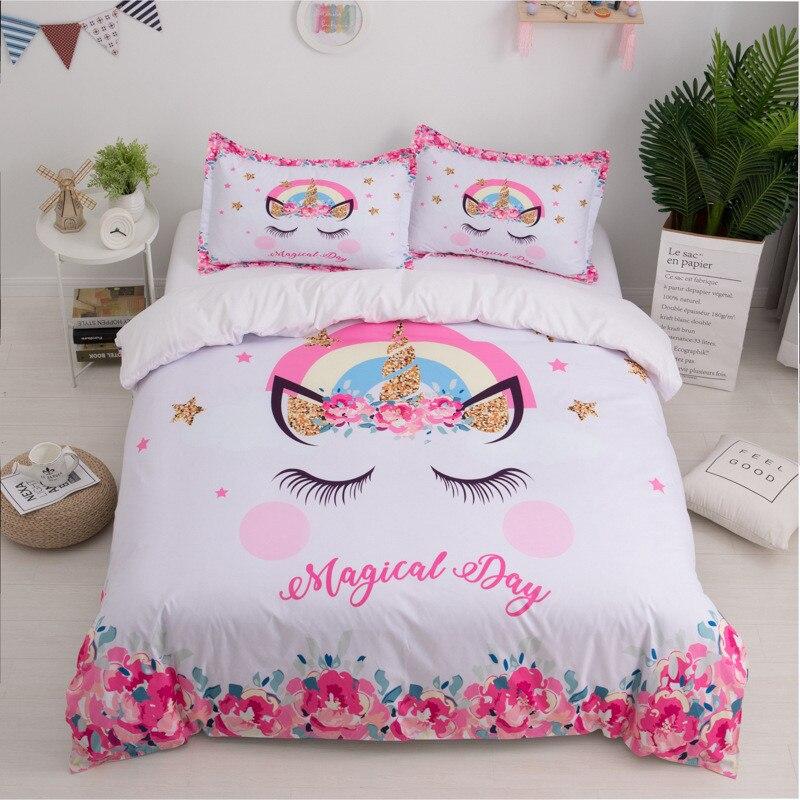 Denisroom Children's Bed Linen Unicorn Bedding Set Girl Duvet Cover Set Queen Comforter Sets Twins Bedcover XY76#