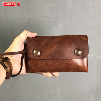 2020 new handmade leather men long wallet soft leather card holder purse retro old snap button wallet large capacity clutch bag