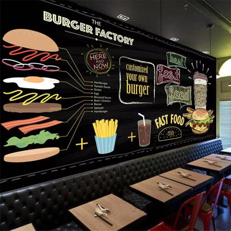 Wellyu Custom Wallpaper 3D Europe Hand-painted Burger Fast Food Restaurant Snack Bar TV Background Wall Paper 3d Papel De Parede