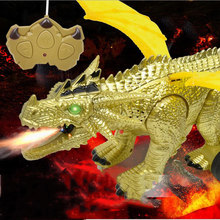 Simulation Dinosaur Model Remote Control Electric Animal Spray Dinosaur Rechargeable Large Fire-Breathing Dragon Children's Toys(China)