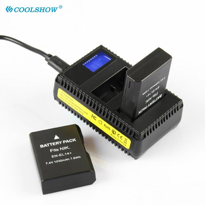 RU EL14 Батарея для Nikon D5100 D5200 D5500 D5600 D5300 P7200 P7700 P7100 D3100 D3200 D3300 EN-EL14 EN-EL14 + батареи 1030 мАч
