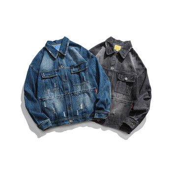 Spring new Japanese retro tooling denim jacket men's multi-pocket loose casual jacket