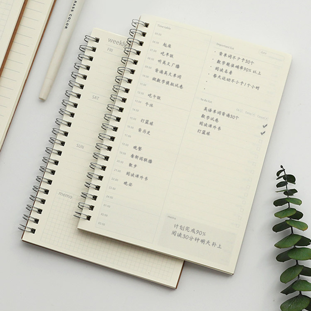Daily Weekly To Do Planner Spiral Kraft Notebook Journal Grid Lined Stationery A6 Binder Notepad Office Stationery
