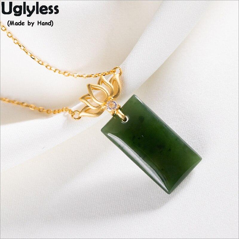 Uglyless bonne nouvelle rien ne se passe minimaliste pendentifs de pierres précieuses vierges pour les femmes Jade colliers carrés réel 925 argent Lotus P1021