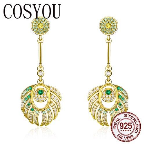 COSYOU plume de paon reine Dangle boucles d'oreilles pour les femmes 925 en argent Sterling couleur or mariage déclaration bijoux cadeaux BSE255