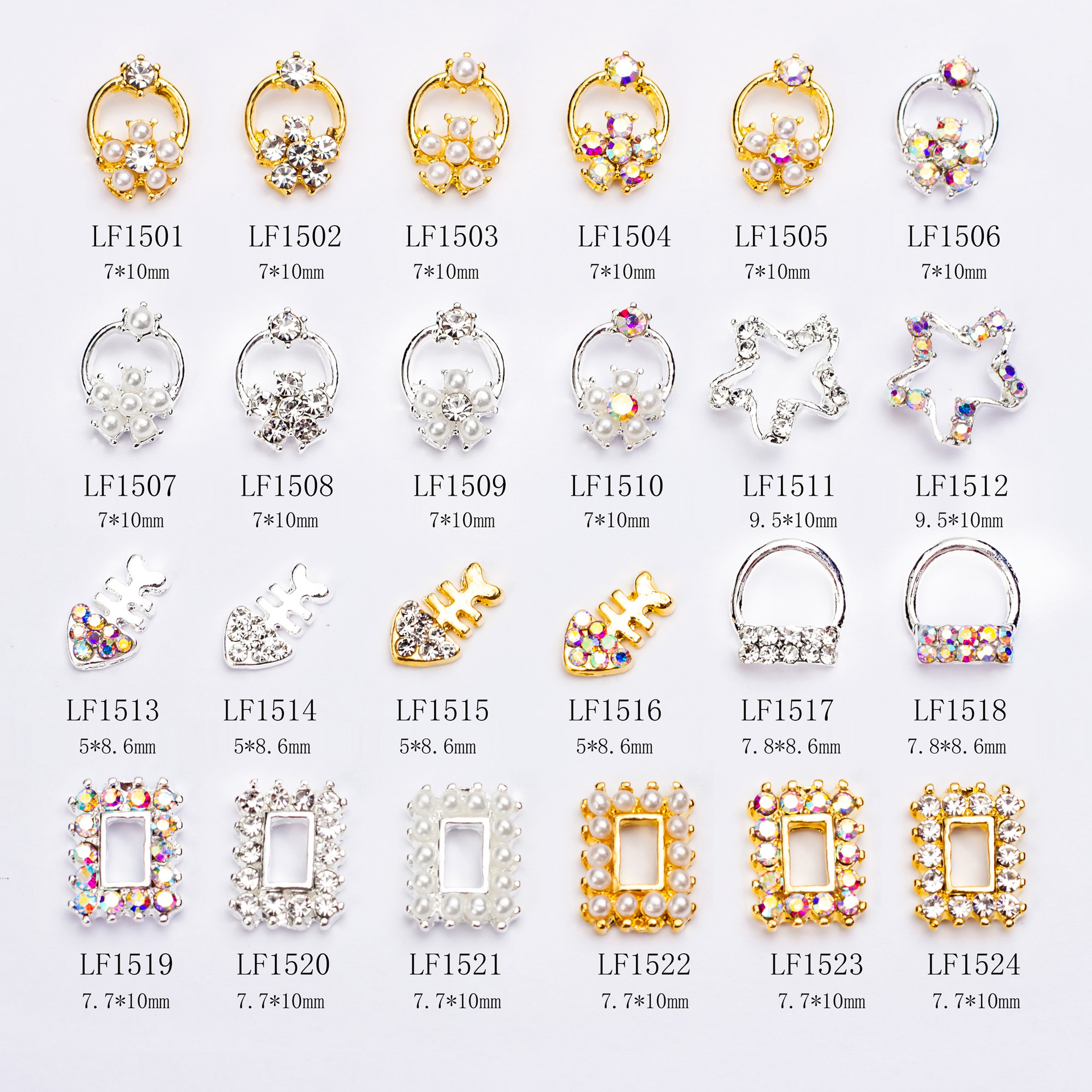 New Style Nail Crystal Accessories Hollow Out Petal Star Fishbone Pearl Geometry Frame Nail Sticker Diamond Alloy Accessory
