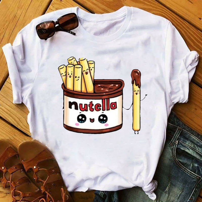 Summer Woman Ladies Shirts New Summer Women T-shirt Nutella T-shirt Cartoon Printing T-shirt Harajuku T-shirt Funny Tops T-shirt