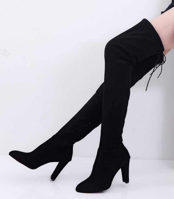 Plus ขนาด 34-43 2018 ใหม่รองเท้าผู้หญิงรองเท้าสีดำเหนือเข่ารองเท้าบูทเซ็กซี่หญิงเลดี้ฤดูใบไม้ร่วงฤดูหนาวต้นขาสูงรองเท้า