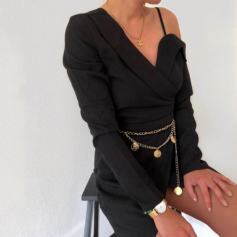 Elegant Asymmetrical Long Sleeve Office Blazer Black Dress 2