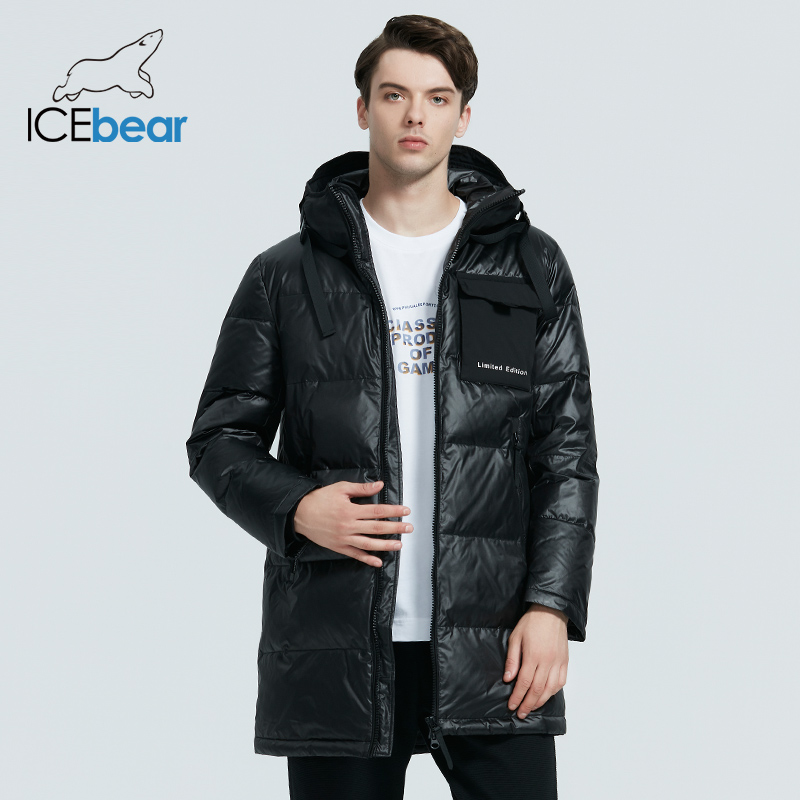 ICEbear 2020 high-quality men's casual hooded jacket new winter mid-length cotton coat brand men's clothing MWD20923I