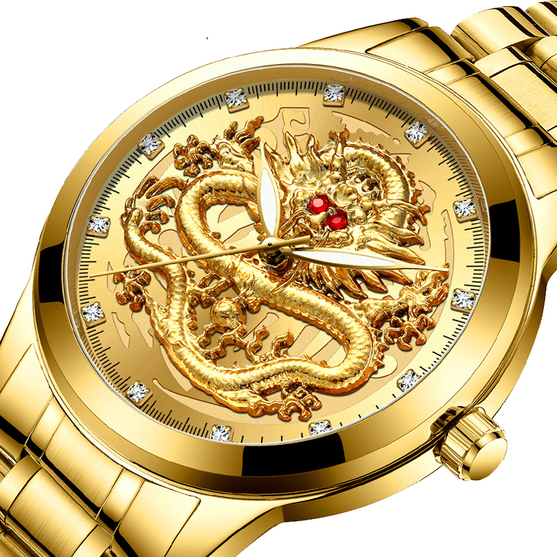 Relogio Masculino 2020 Fashion Casual Watch Men Waterproof Quartz Wrist Watches Luxury Brand Red Rhinestone Dragon Clock Male
