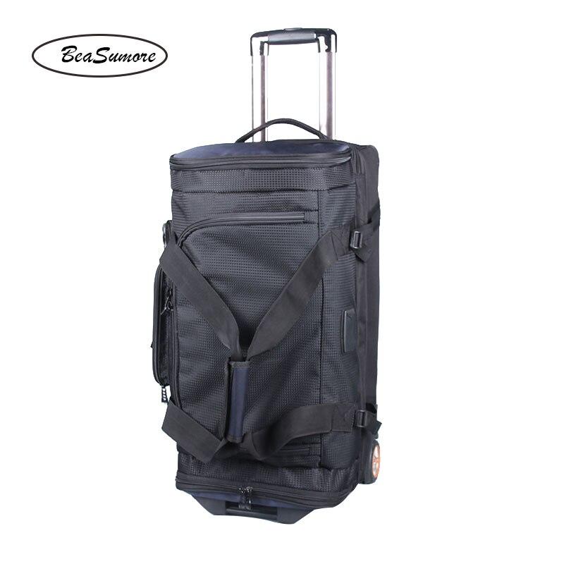 BeaSumore 27 Inch Large Capacity Rolling Luggage 32 Inch Shoulders Backpack Trolley Women Multifunction Suitcase Wheels Trunk