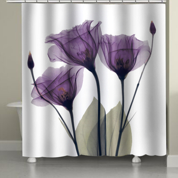 Waterproof Shower Curtain Colorful Tulip Lotus Flowers Trees Pattern  Shower Curtain 3D Polyester Fabric Bath  Curtain with Hook