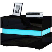 Night-Tables Cabinet Bedroom Home-Furniture Bedside 2-Drawers with LED Multifunction