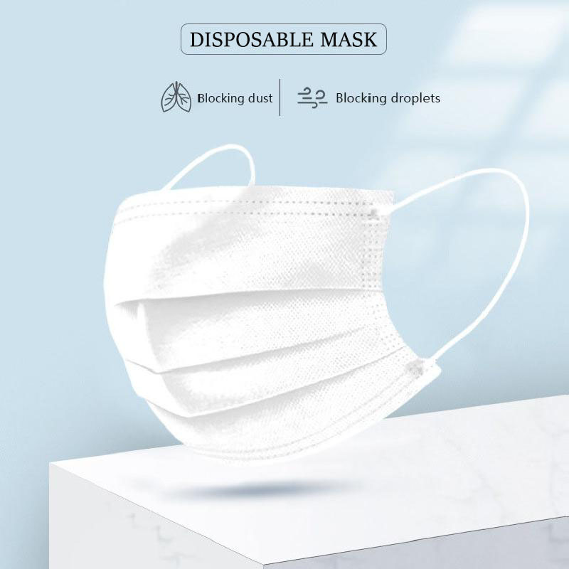 20/50/100pcs Disposable Mask White 3-Layer Non Woven Disposable Masks Face Mouth Masks  In Stock Fast Shipping